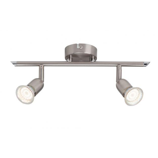 Brilliant Lonas - opbouwspot - 40 x 8,5 x 15 cm - 2 x 3W LED incl. - satijn chroom
