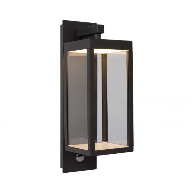 Lucide Clairette - buiten wandverlichting met bewegingsmelder - 12 x 38 x 16 cm - 15W LED incl. - IP54 - antraciet