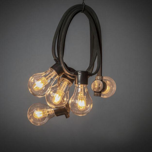 Konstsmide - decoratieve party lichtset met dimfunctie en vervangbare LED - 4,5m lengte met 10m snoer - 10 LED lampen x 0,62W - IP44 - zwart