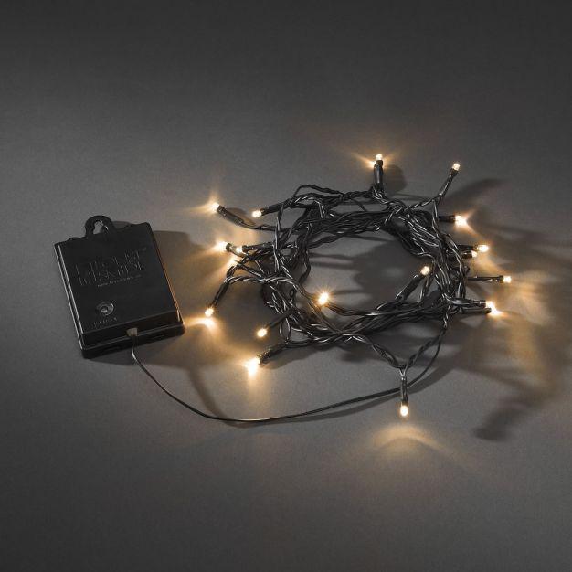 Konstsmide kerstverlichting - Micro LED licht set op batterijen - 2,40m -20 stuks - IP44 - zwart