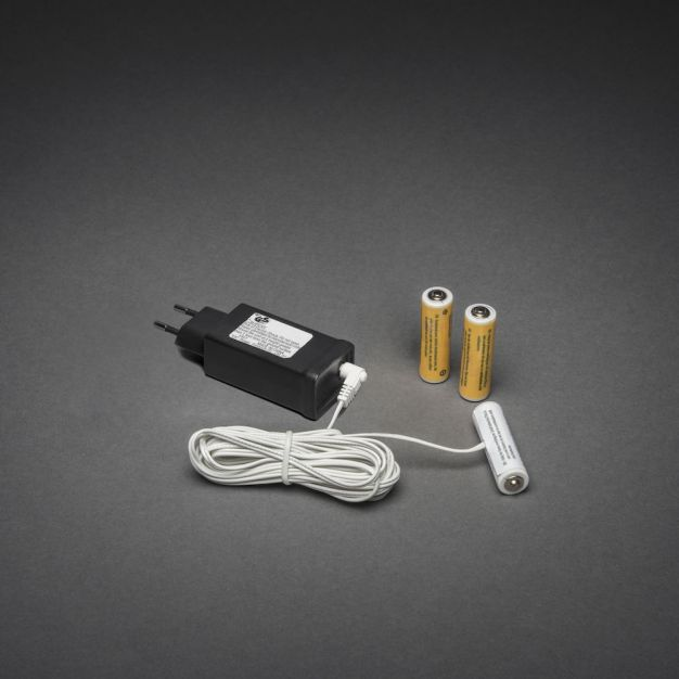 Konstsmide - batterij adapter - 3m - universeel - zwart
