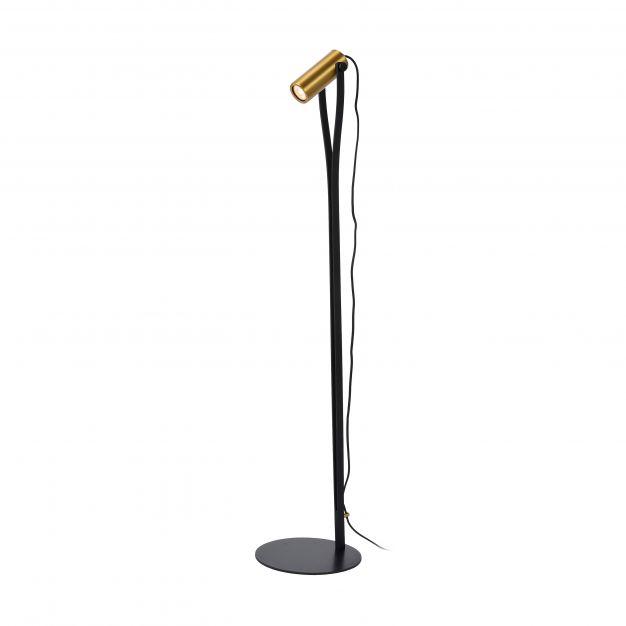 Lucide Jantuano - staanlamp - 123,8 cm - 3 stappen dimbaar - 5W LED incl. - zwart en mat goud