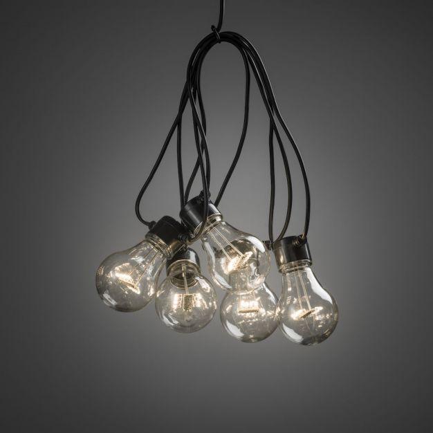 Konstsmide - decoratieve party lichtset - 4,5m lengte met 10m snoer - 10 LED lampen - IP44 - zwart