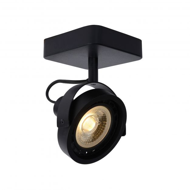 Lucide Tala LED - opbouwspot 1L - 12 x 12 x 20 cm - 12W dimbare LED incl. - zwart