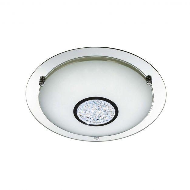 Searchlight Bathroom - plafondlamp badkamer - Ø 32 x 8 cm - 12W LED incl. - IP44 - chroom