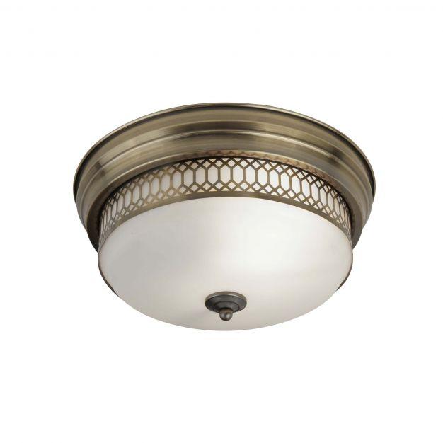 Searchlight Edinburgh - plafondlamp badkamer - Ø 35 x 16 cm - IP44 - antiek messing