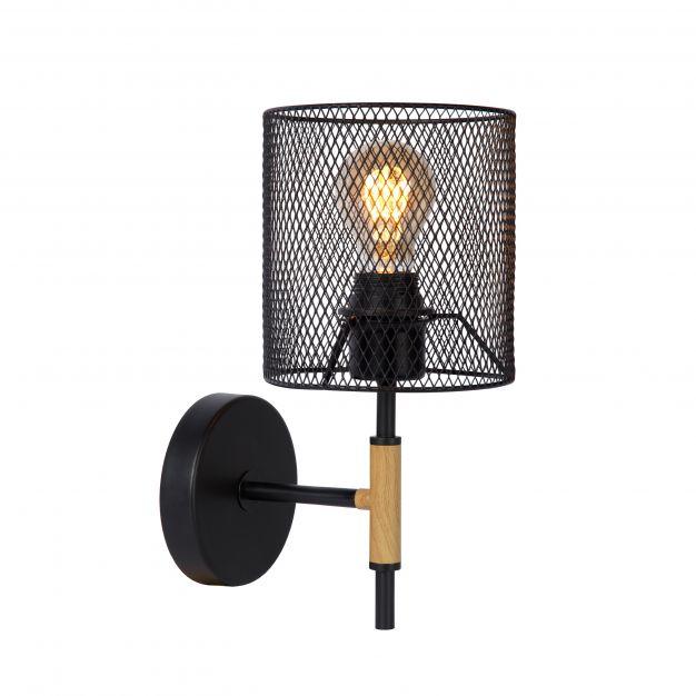Lucide Baskett - wandverlichting - 15 x 20 x 32 cm - zwart en lichtbruin
