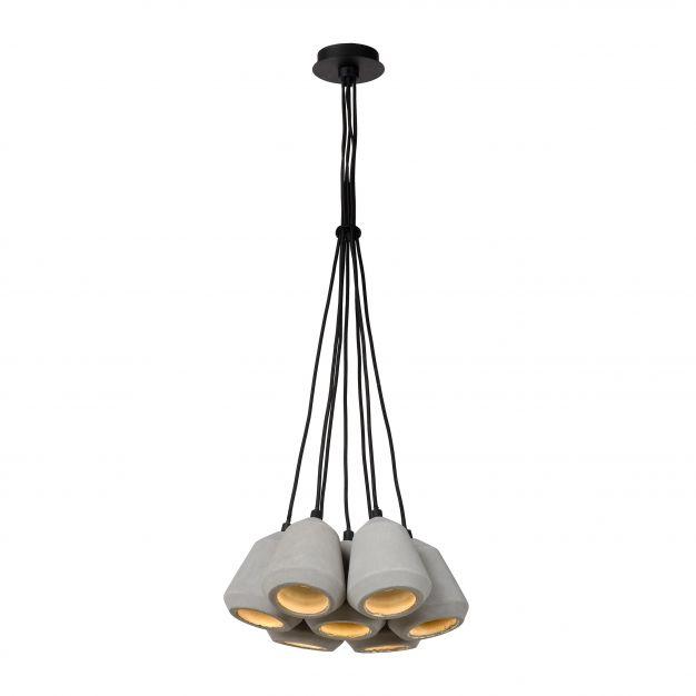 Lucide Settana - hanglamp - Ø 31 x 142 cm - 7 x 5W dimbare LED incl. - taupe en zwart