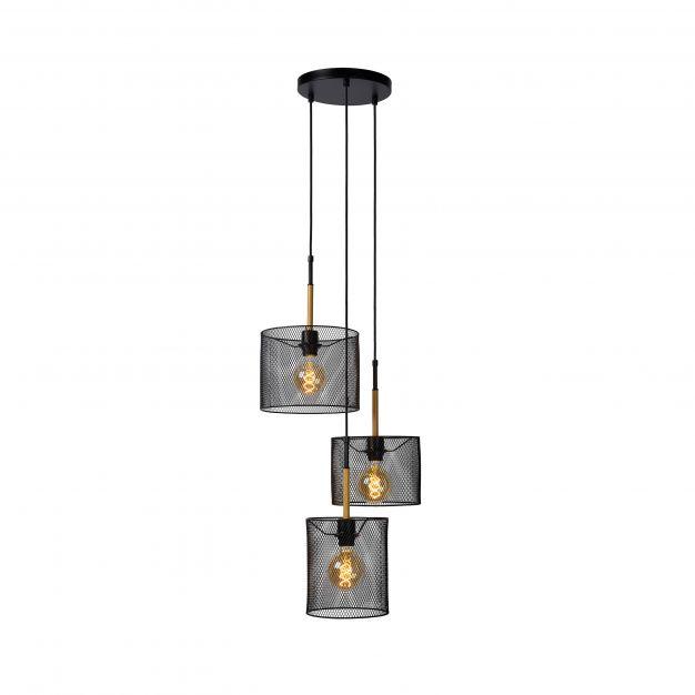Lucide Baskett - hanglamp - Ø 46 x 150 cm - zwart en lichtbruin