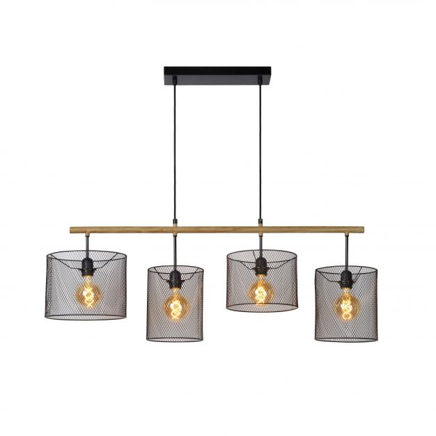 Lucide Baskett - hanglamp - 107 x 23 x 175 cm - zwart en licht hout