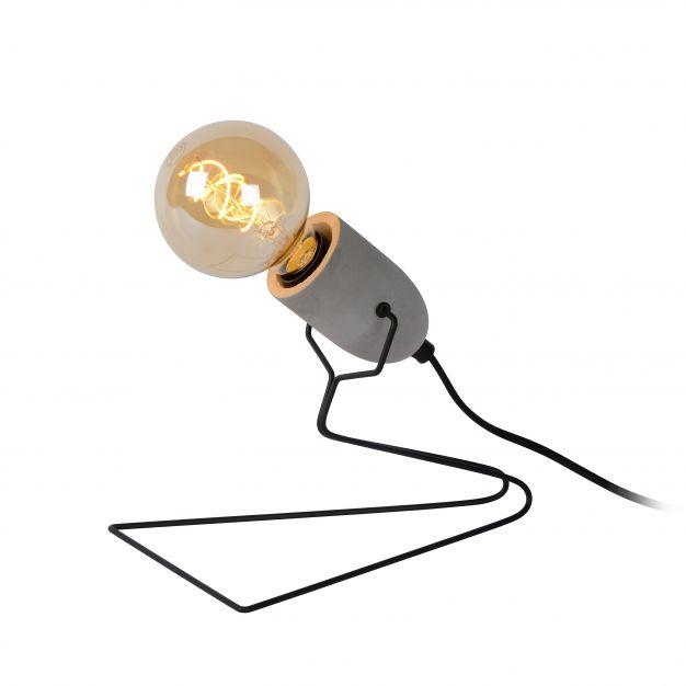 Lucide Semih - tafellamp - 22 cm - zwart en grijs