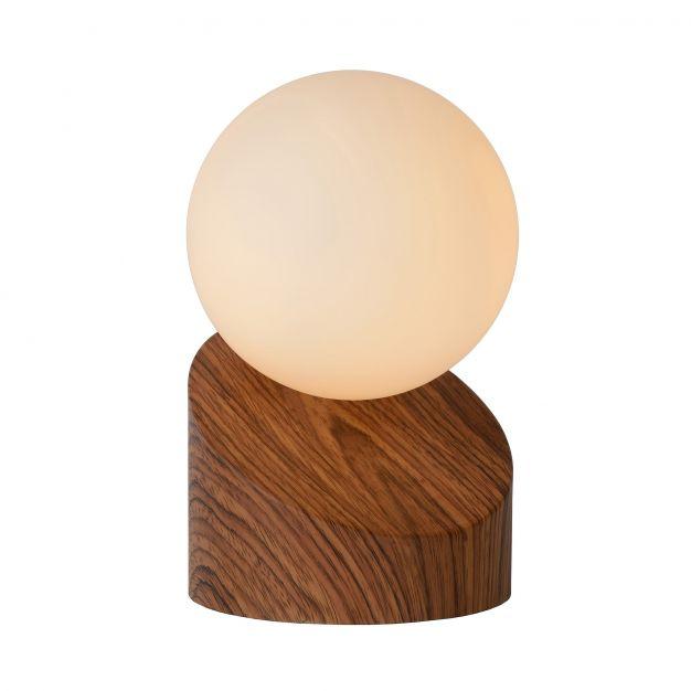Lucide Len - tafellamp - 16 cm - hout en opaal