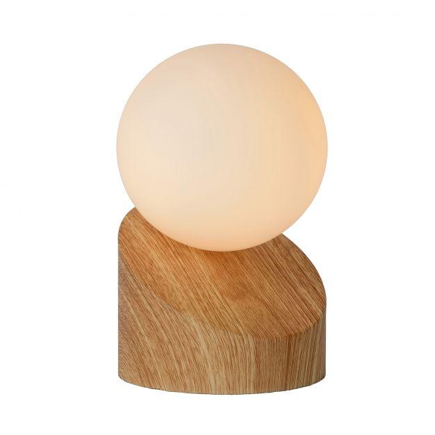 Lucide Len - tafellamp - 16 cm - licht hout en opaal