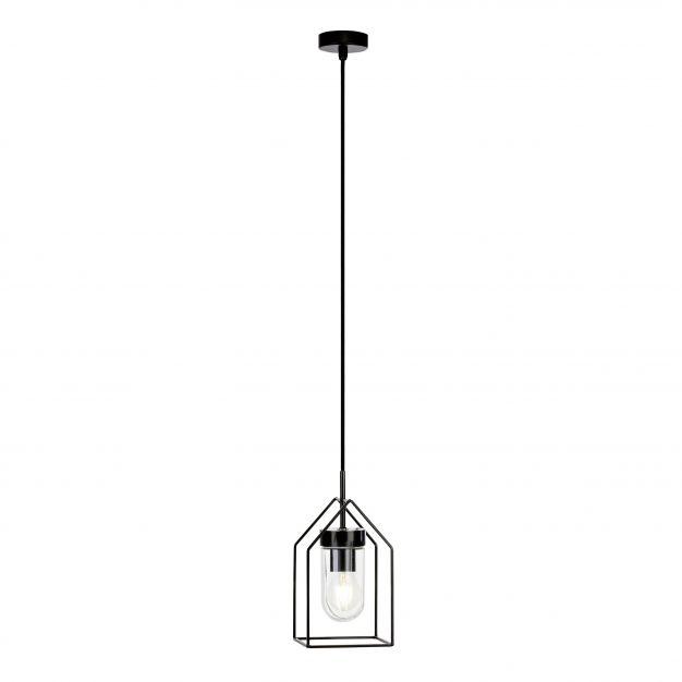 Brilliant Home - buiten hanglamp - 13 x 107 cm - IP44 - zwart met transparant glas
