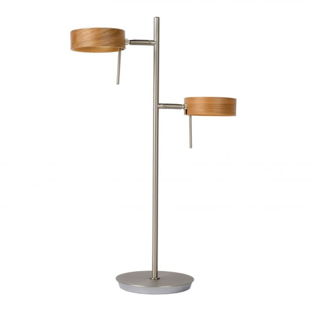 Lucide Enia Led - tafellamp - Ø 35 x 54 cm - 2 x 5W dimbare LED incl. - mat chroom en licht hout