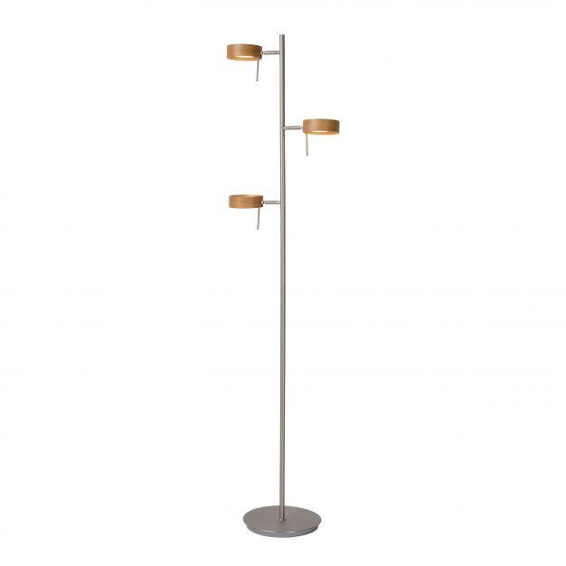 Lucide Enia LED - staanlamp - 152 cm - 3 x 5W dimbare LED incl. - mat chroom