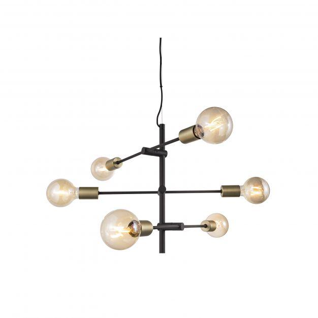 Nordlux Josefine - hanglamp - Ø 55 x 79 cm - mat zwart en messing
