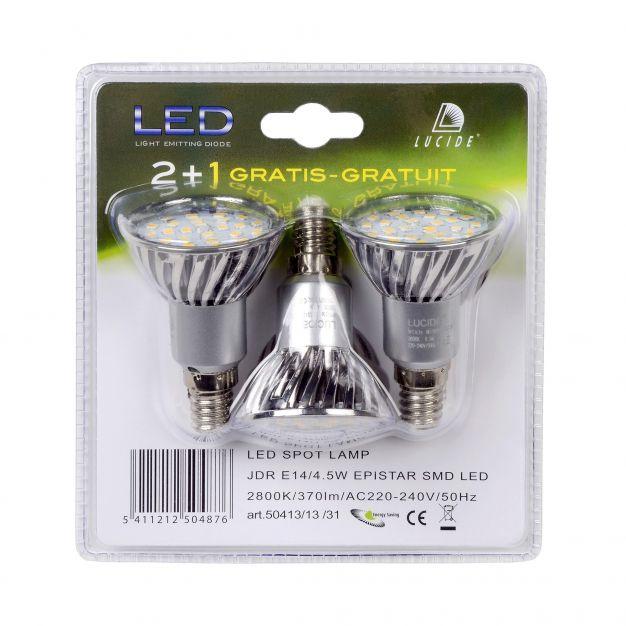 LED-spot (set van 3) - E14 - 4W - 3000K - zilver
