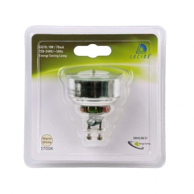 Lucide spaarlamp - GU10 - 8W - 2700K - wit