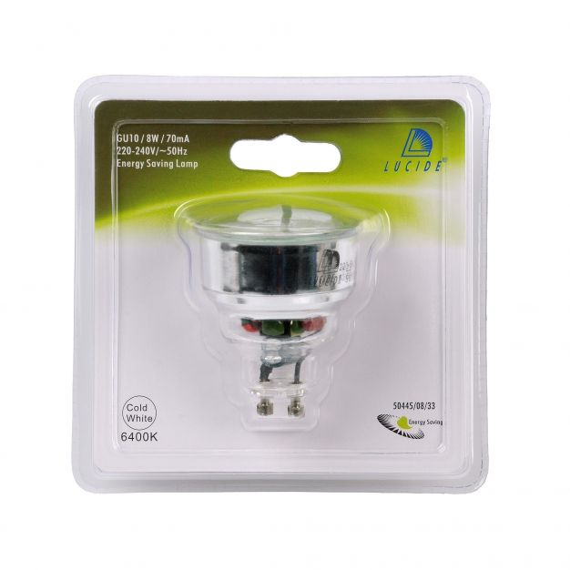 Lucide spaarlamp - GU10 - 8W - 6500K - wit
