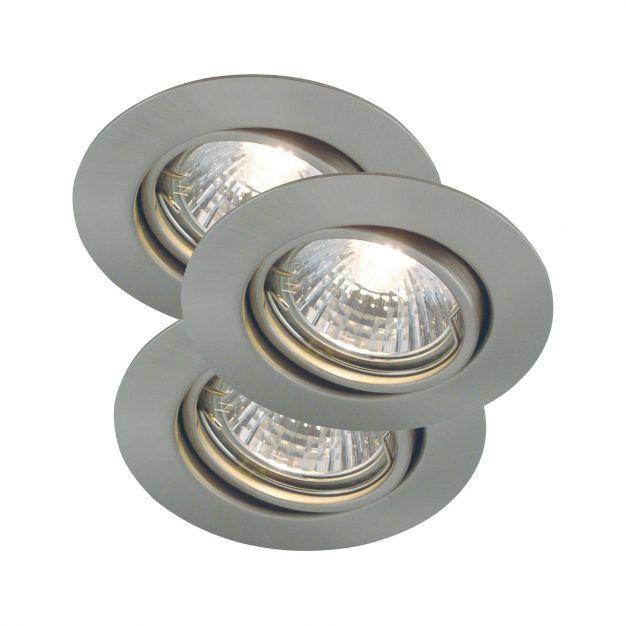 Nordlux Triton - set van 3 - Ø 90 mm, Ø 75 mm inbouwmaat - IP23 - geborsteld staal
