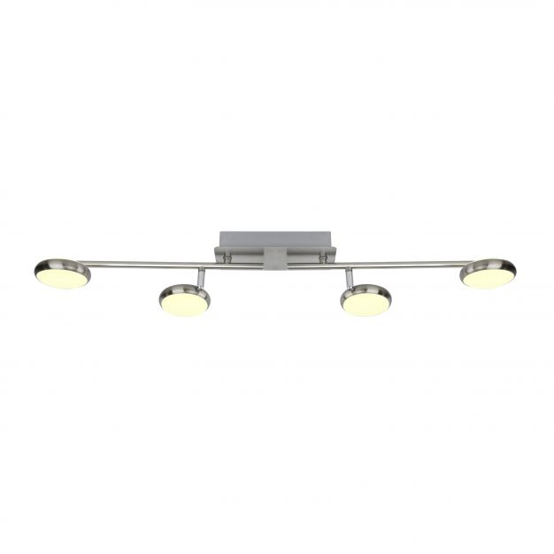 Brilliant Double - plafondverlichting - 85 x 20 x 9 cm - 3 stappen dimmer - 4 x 5W LED incl. - satijn chroom