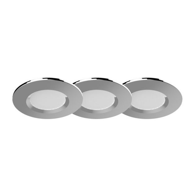 Nordlux Apollo - set van 3 - 5,5W LED incl. - Ø 85 mm, Ø 72 mm inbouwmaat - IP65 - chroom