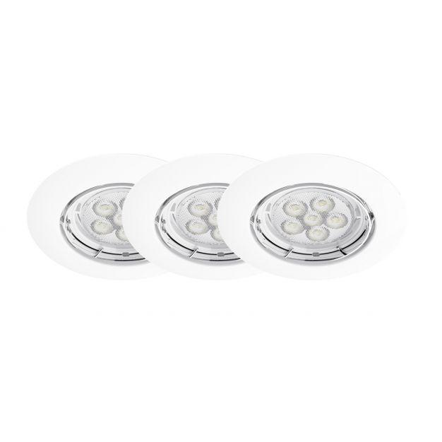 Energetic Lighting Matrix - set van 3 - inbouwspots - Ø 85 mm, Ø 65 mm inbouwmaat - 5,5W dimbare LED incl. - wit