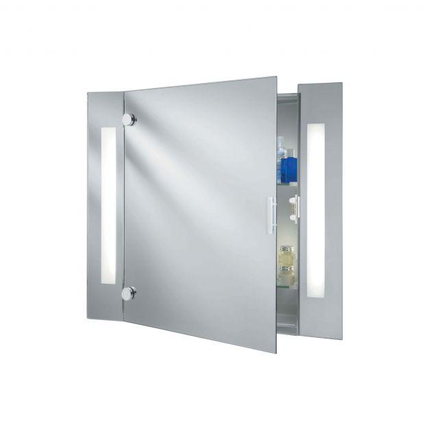 Searchlight Bathroom Mirrors - spiegel met verlichting - 66 x 60 cm - 9,6W LED incl. - IP44 - wit en chroom