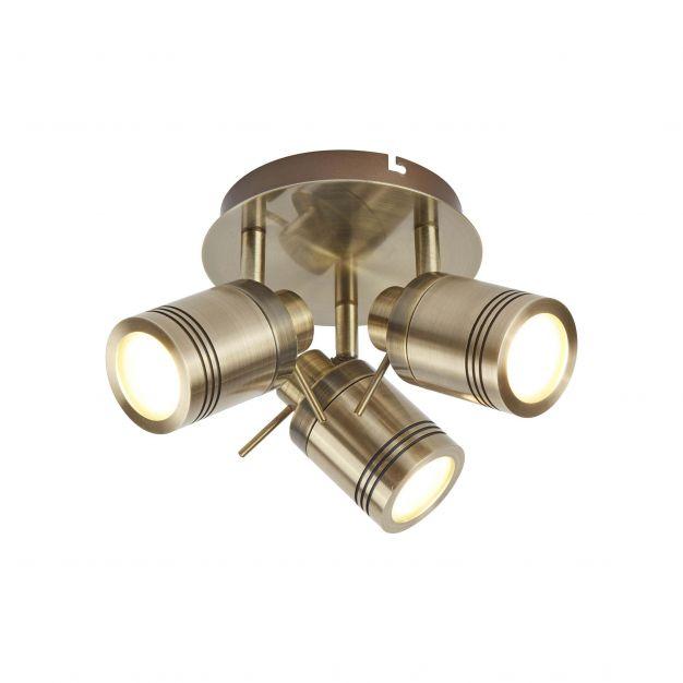 Searchlight Samson - opbouwspot 3L - Ø 28 x 16 cm - 3 x 5W LED incl. - IP44 - antiek messing