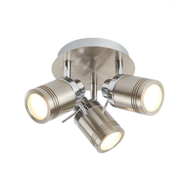 Searchlight Samson - opbouwspot 3L - Ø 28 x 16 cm - 3 x 5W dimbare LED incl. - IP44 - satijn zilver