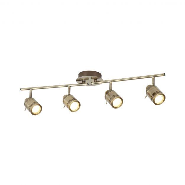 Searchlight Samson - opbouwspot 4L - 79 x 13 x 19,5 cm - 4 x 5W dimbare LED incl. - IP44 - antiek messing
