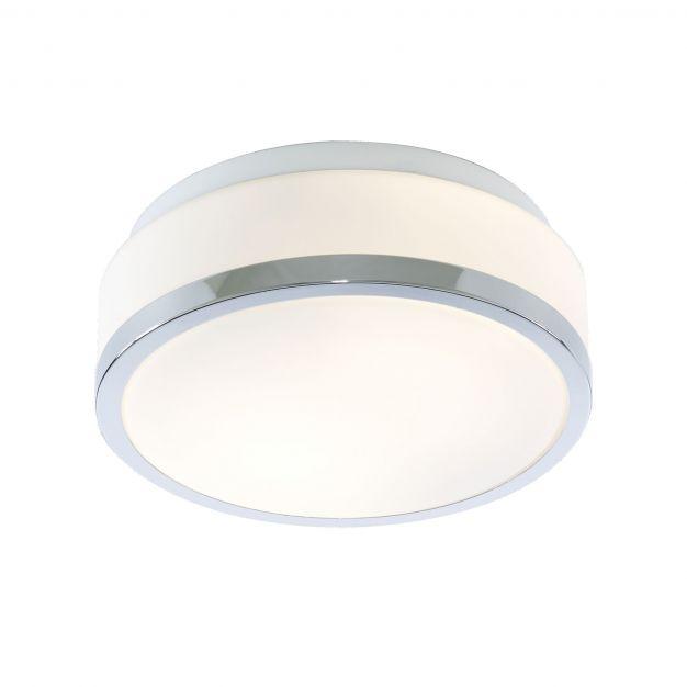Searchlight Discs - plafondlamp badkamer - Ø 23 x 9,5 cm - IP44 - opaal en chroom