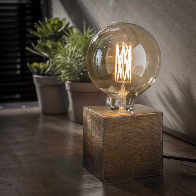 Vico Block - tafellamp - Ø 10 x 10 cm - brons antiek