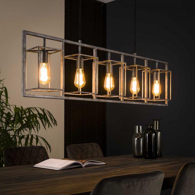 Vico Cubic Tower - hanglamp 5L - 130 x 15 x 150 cm - Oud zilver