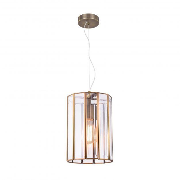 Nova Luce Celso - hanglamp - Ø 28 x 120 cm - antiek metaal