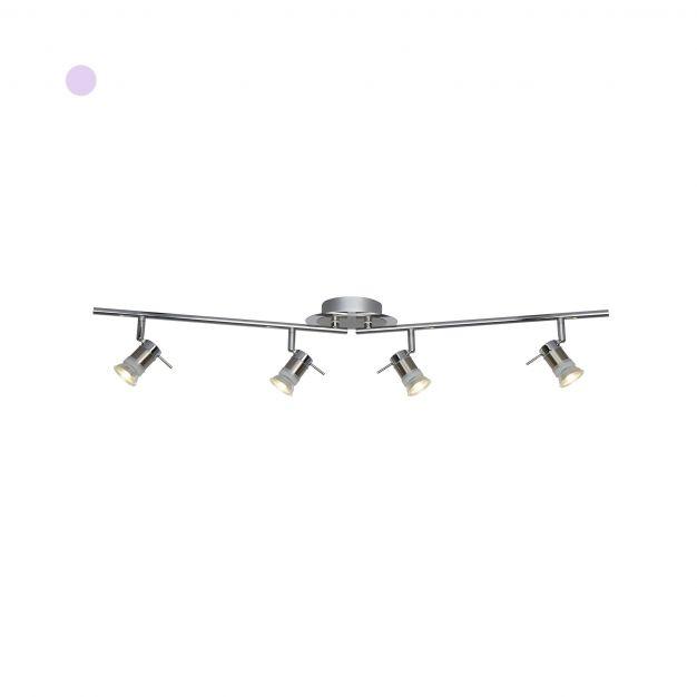 Searchlight Aries – plafondverlichting - 90 x 12 x 16 cm - 4 x 5W LED incl. - IP44 - chroom