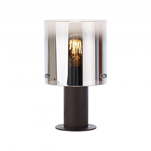Brilliant Beth - tafellamp - Ø 15 x 26 cm - koffie en rookglas