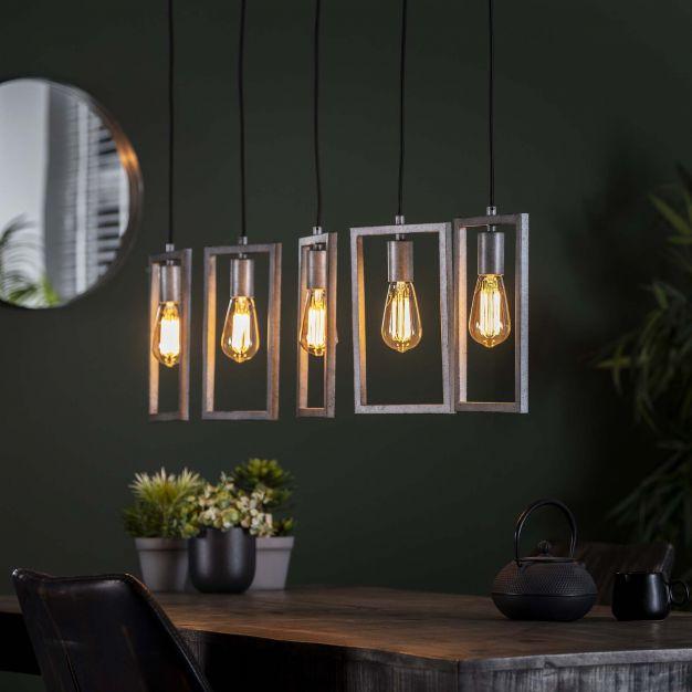 Vico Frame - Hanglamp 5L - 120 x 20 x 150 cm - Oud zilver