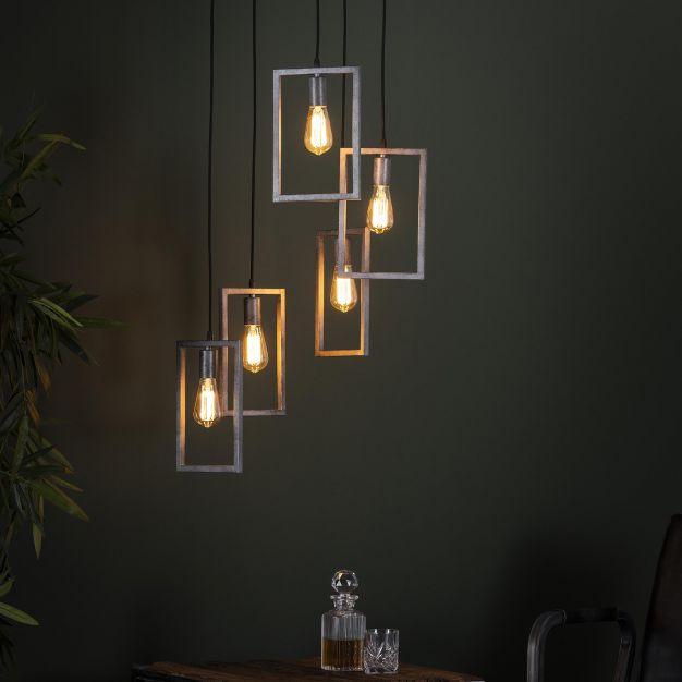 Vico Frame - Hanglamp 5L Getrapt - 50 x 50 x 150 cm - Oud Zilver