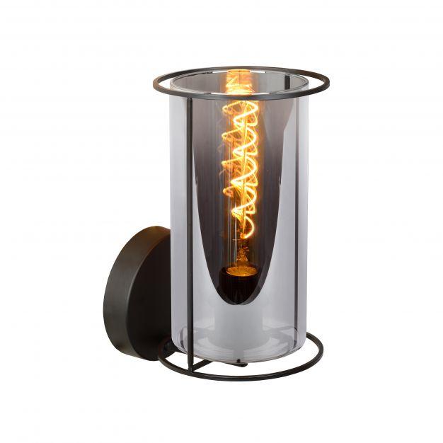Lucide Dounia - wandverlichting - 15 x 18 x 26,5 cm - zwart en rookgrijs