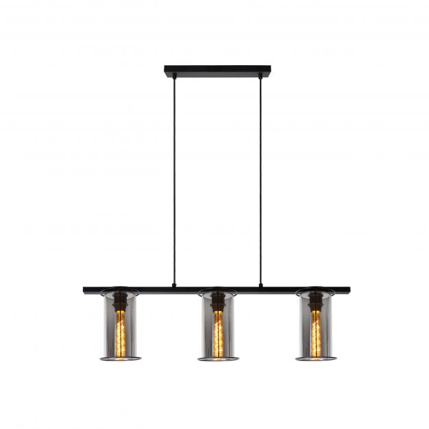 Lucide Dounia - hanglamp - 99 x 25 x 158 cm - zwart en rookgrijs