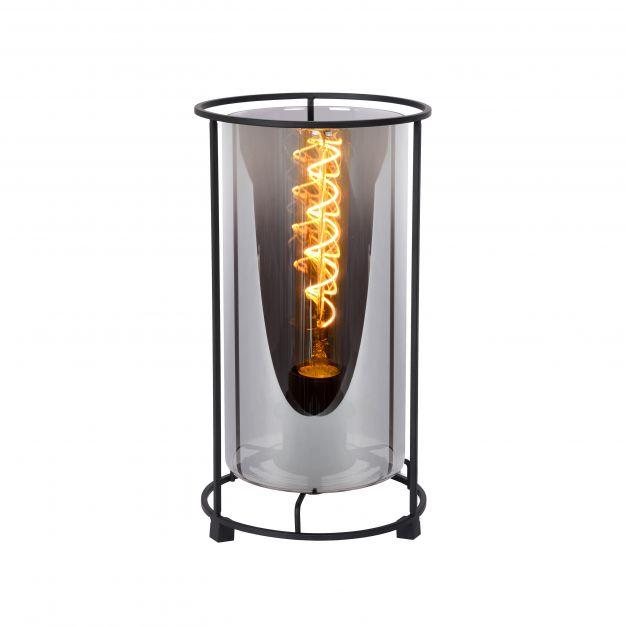 Lucide Dounia - tafellamp - Ø 15 x 27,5 cm - zwart en rookgrijs