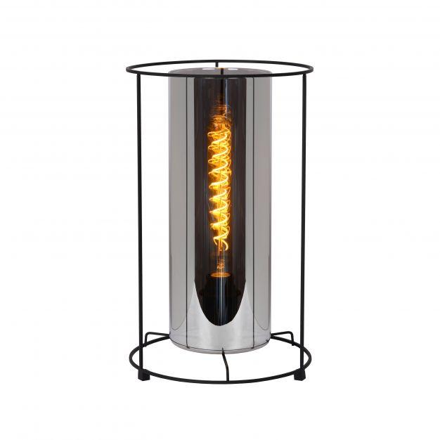 Lucide Dounia - tafellamp - Ø 25 x 41 cm - zwart en rookgrijs