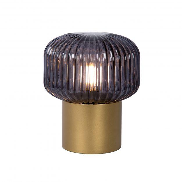 Lucide Jany - tafellamp - Ø 16 x 18 cm - mat goud en rook grijs