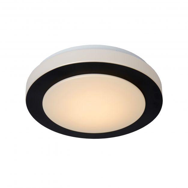 Lucide Dimy - plafondlamp badkamer - Ø 28,6 x 8 cm - 12W dimbare LED incl. - IP21 - zwart en opaal
