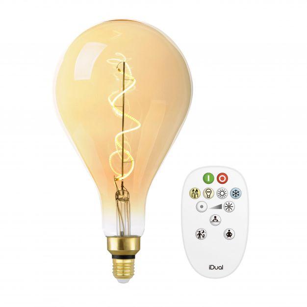 iDual LED-lamp met afstandsbediening - Ø 30 x 16 cm - E27 - 7W dimbaar - 2200K tot 5000K - amber