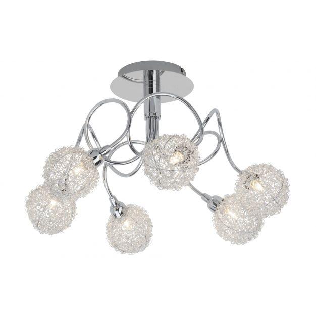 Bralis plafondlamp 6 - satijn chroom