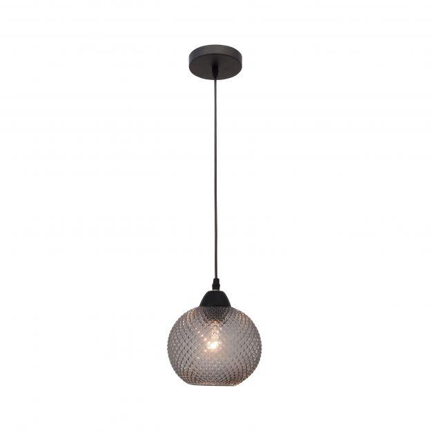 Nova Luce Porto - hanglamp - Ø 18 x 140 cm - donkergrijs en zwart