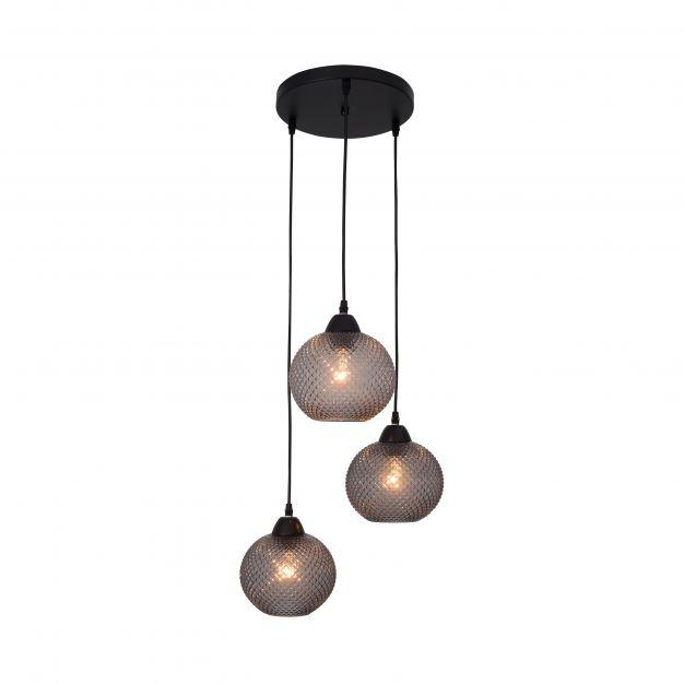 Nova Luce Porto - hanglamp - Ø 30 x 160 cm - donkergrijs en zwart